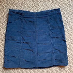 Blue Body Hugging Corduroy Skirt